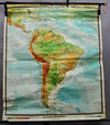 vintage rollable wall chart poster print South America school map physical
