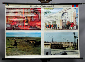 vintage rollable wall chart Mongolian Peoples Republic landscape people culture