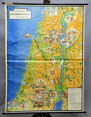 vintage religious wall chart, illustrated map, Holy Land, the life of Jesus