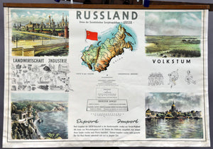 vintage map poster wall chart Russia Moscow Crimea Leningrad tradition