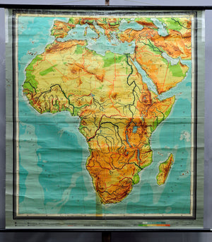 vintage rollable map Africa wall chart mural decoration poster print