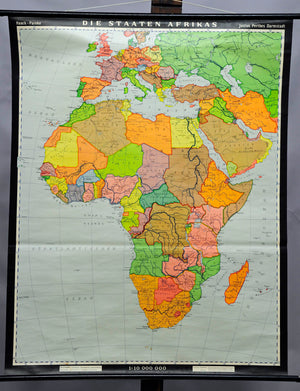 Haack-Painke vintage poster rollable wall chart map states of Africa