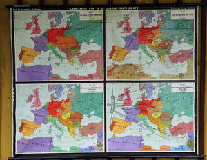 vintage rollable wall chart 20th century in Europe war language