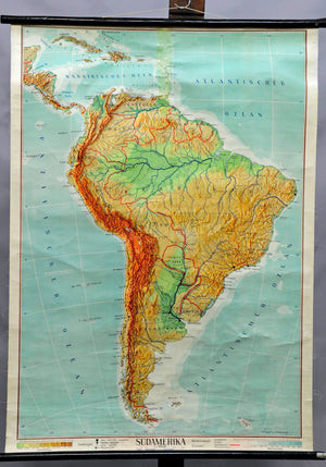 rollable geographical wall chart poster, map, South America, physical view