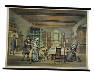 traditional rollable wall chart poster, middle-class living room, XVI century