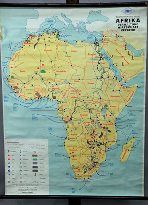 vintage wall chart geography map Africa administration economy traffic