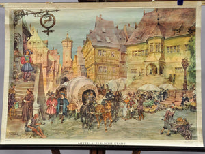 medieval town city impression by Harry Friedrich rollable vintage wall chart