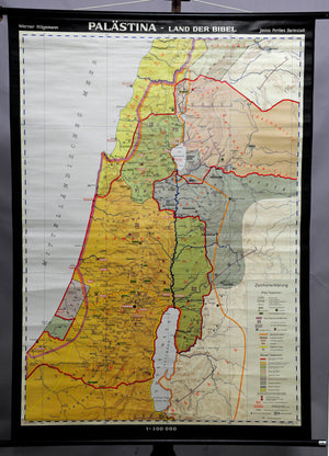 vintage pull-down wall chart, geography, map, religion, Palestine, bible