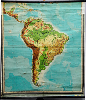 vintage rollable poster decoration wall chart geography map South America