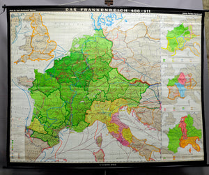 pull-down wall chart school map France Frankish kingdom 486-911