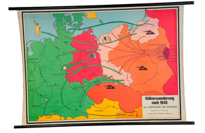 vintage historical wall chart map Migration Period 1945 displacement of Germans