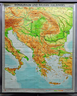 fantastic school map vintage wall chart Danube Region Balkan Peninsula