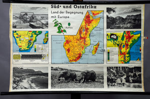 vintage map pull-down wall chart Africa south east landscape country lifestyle