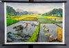 vintage wall chart poster rice cultivation Indochina Peninsula landscape