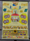 vintage pull-down wall chart, family, state, society, 1960, civics, town hall