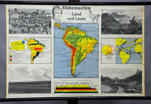 vintage wall chart picture South America landscape map black and white