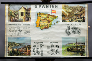 vintage map wall chart picture of Spain cityshape life country side lodge loft