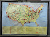 vintage poster rollable wall chart geography map USA - industry economy