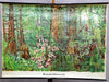 vintage rollable wall chart poster lignite forest animals landscape scenary