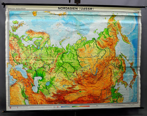traditional rollable wall chart poster geography map North Asia (USSR)