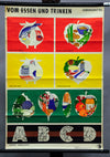 vintage wall chart poster, eating, drinking, foodstuff, nutrition, vitamins