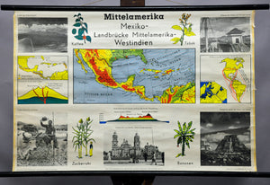 rollable vintage map Central America landscape culture industry wall chart