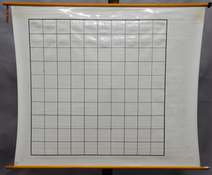 vintage rollable wall chart, maths, slate cloth panel, inscribe, chequerwise