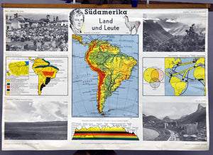 poster map retro wall chart, South America country people Argentina Peru Brazil
