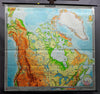 vintage picture rollable poster wall chart, geography, map, Canada, Greenland