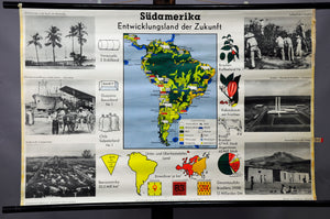 vintage wall chart picture poster South America landscape geography map