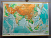 traditional rollable wall chart poster, geography, map, South Asia, physical