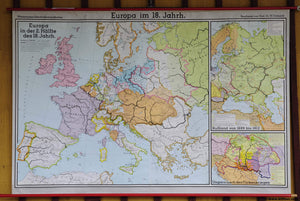 rollable school map European history 18th century wall chart poster print