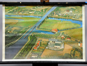 vintage poster wall chart, landscape, river, aerial photo, Aqueduct, Germany