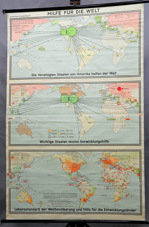 vintage poster rollable wall chart world map developing countries earth