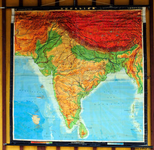vintage map pull-down wall chart poster print South Asia India Ceylon