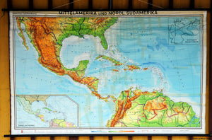 vintage rollable poster print map wall chart decoration Central America