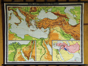 religious picture map pull-down wall chart scriptual geography poster print