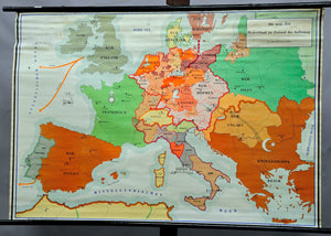 vintage historical wall chart poster, map, Germany, dissolution (1500-1750)