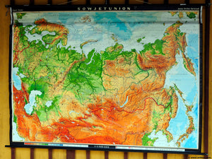 vintage map rollable poster print wall chart decoration Soviet Union Russia
