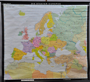 poster map rollable school wall chart countries of Europe