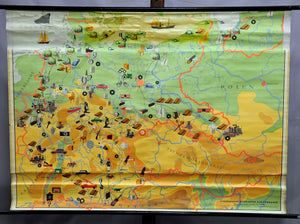 vintage rollable wall chart poster geographical map Germany industry traffic