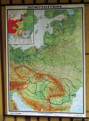 vintage rollable wall chart poster relief map East Central Europe