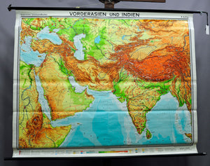 pull-down wall chart geography map Western Asia and India