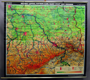 old rollable wall chart, geography, map, Leipzig, Cottbus, Dresden, Germany