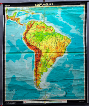 old vintage map rollable wall chart poster print South America