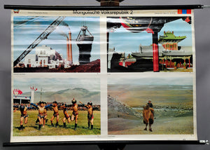 vintage poster wall chart Mongolian Peoples Republic landscape culture photos