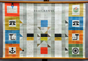 vintage rollable wall chart poster communication systems messages telegrams