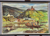 old wall chart Moselle valley river crossing castle ruin Metternich B.Bösl 1951