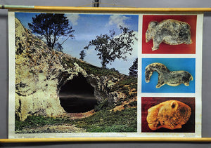 vintage pull-down wall chart poster Ice Age art history cave discovery horse