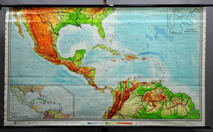 vintage picture poster geographical wall chart, Middle America, states, traffic
